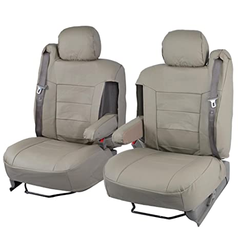 Amazing Tan Beige Pu Leather Seat Covers Luxury Leatherette For Car Truck Van Armrest Integrated Seatbelt Caraccident5 Cool Chair Designs And Ideas Caraccident5Info