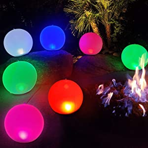 """Inflatable LED Light Ball 1 PCS,Cootway 14"""" Hangable Globe Night Lights RGB Color Changing,Dimmable Orbs Mood Light Sphere Table Lamp,IP68 Waterproof Floating Pool Lights,Bright Light for Home,Office"""