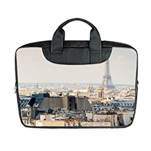 INSTALL AND EASY TO CARRY Wear& Slim &Dapper Paris Custom Waterproof Nylon Bag for Laptop 17 Inches(Twin sides)
