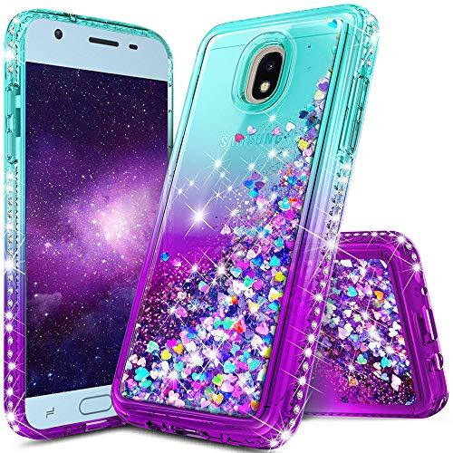 Galaxy J7 2018 Case,J7 Refine,J7 Star,J7 Crown,J7 V 2nd Gen,J7 Aura Case,lovemecase Glitter Liquid Quicksand Bling Sparkle Flowing Sparkle Shiny Diamond Girls Protective Case(Gradient Aqua/Purple)