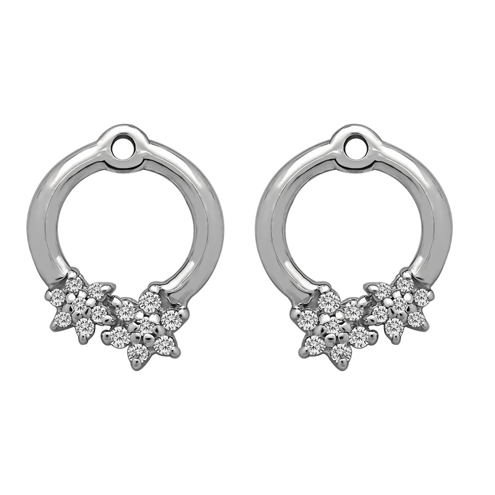 1/7 ct. Charles Colvard Created Moissanite Moissanite Flower Earring Jackets in Sterling Silver (0.13 ct. twt.)