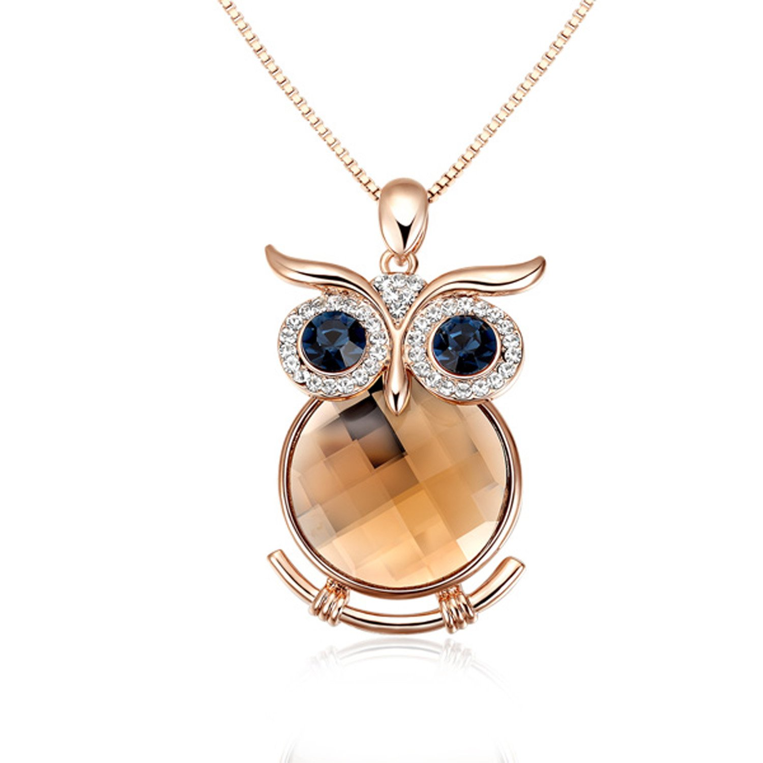 Yoursfs Owl Necklace For Women Rose GP Crystal Rhinestone Long Pendant Sweater Chain