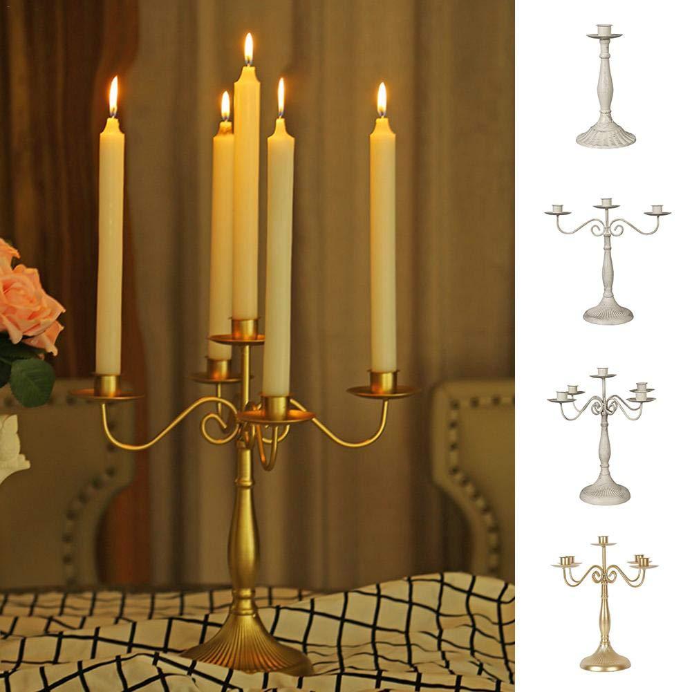 Eillybird Candelabri argentati Dorati Decorativi Vintage candelabro Stile Europeo 1//3//5 Teste Decorazione Ristorante Occidentale Matrimonio candelabro 1 Cabezas Argentato