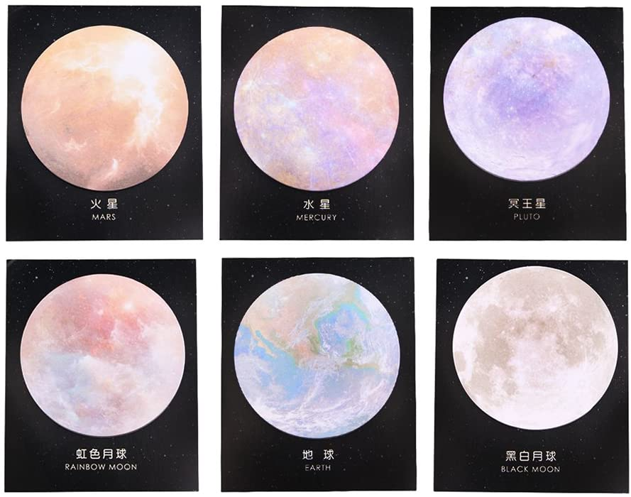 GTHER Planet Sticky Notes, Cute Fun Moon Sticky Note Rainbow Self Stick Self-Adhesive Notes Notepads Posted Writing Pads Stickers Paper (6 Pads, Planet)