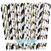 Outside the Box Papers Hearts and Striped Paper Straws 7.75 Inches 100 Pack Black, Gold, White