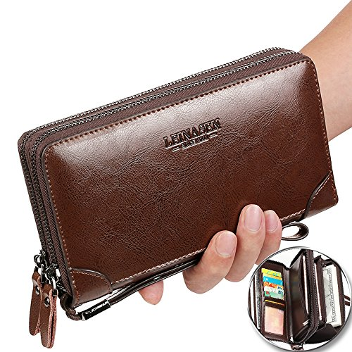 Leather Checkbook Organizer (Men's Clutch Bag Handbag Business Organizer Checkbook PU Leather Wallet Purse Sllybo (style 10-Brown))
