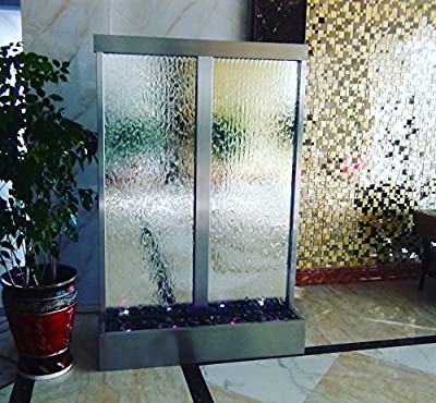 "Waterfall 3XL 72""x48"" Mirror Floor Standing Fountain, Color Lights, Remote Ctrl By Jersey Home Decor"