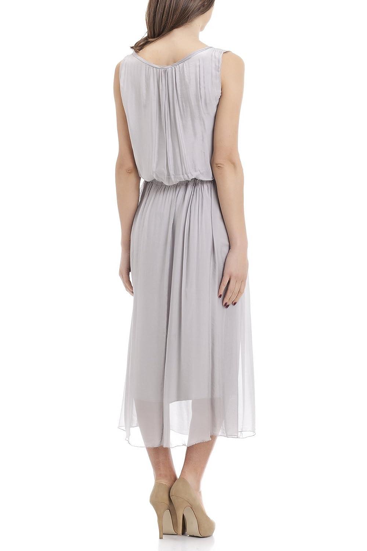 Laura Moretti - Langes, seidiges ärmelloses Kleid mit verstellbarer Taille:  Amazon.de: Bekleidung