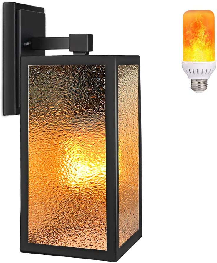 PARTPHONER Outdoor Indoor Wall Sconce with Gas Lamp Effect, Exterior Flickering Flame Wall Lantern, Outside Porch Light Fixtures, Waterproof Wall Lamp for Patio, Doorway, Garage