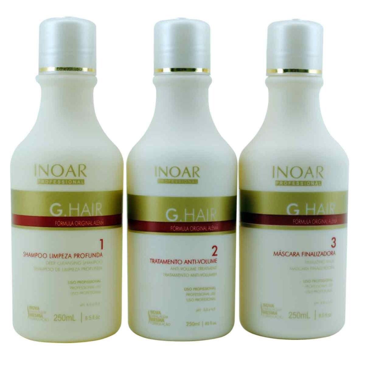 INOAR - Kit Ghair di Cheratina Brasiliana anti crespo 3 X 250ml bottilgie originali Inoar Professional