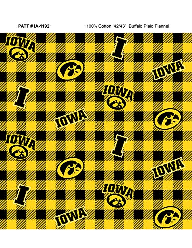 University of Iowa Flannel Fabric with Awesome Check Design-Sold by The Yard-College Flannel Fabric