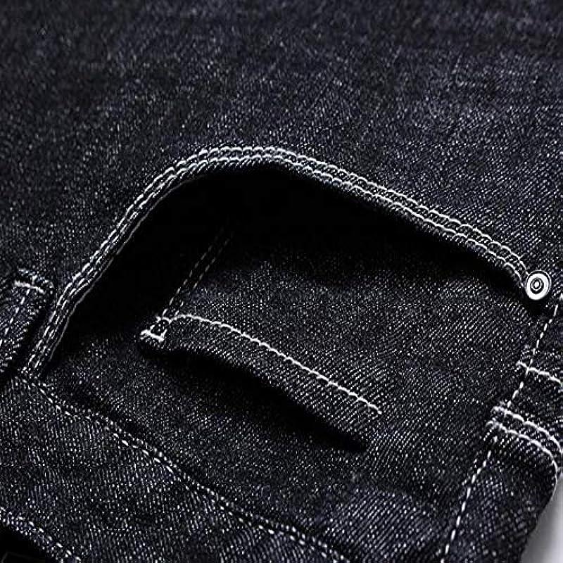 Generic męskie spodnie jeansowe Regular Fit Straight Fit Denim Blue jeansy wszystkie rozmiary nogawek w talii, luźne plus size, jednokolorowe, slim stretch spodnie: Odzież
