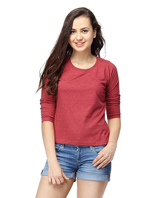 Campus Sutra Women's Cotton Round Neck Quarter Sleeve T-Shirt Women's Tops at amazon