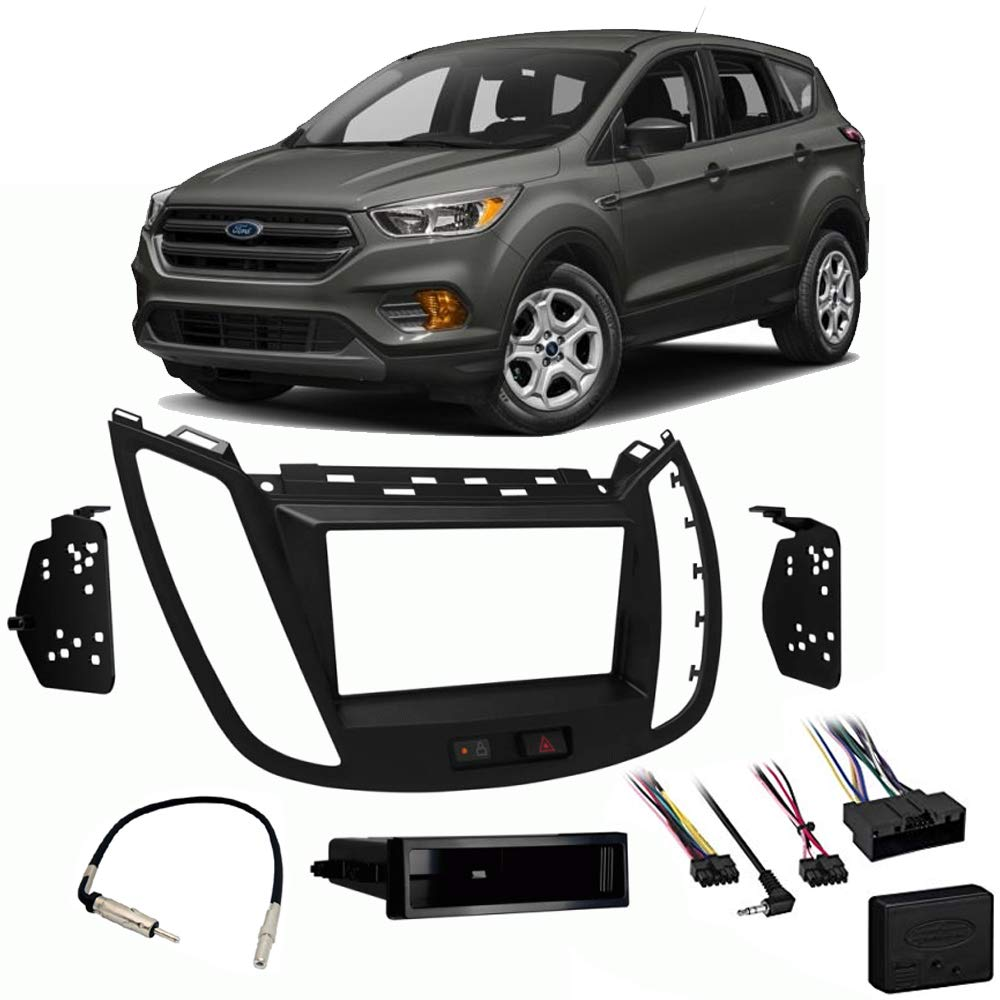 Fits Ford Escape 2013-2019 Single or Double DIN Stereo Harness Radio Install Dash Kit
