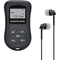 Radio de Poche à Piles FM, Radio stéréo portative pour Radio FM de Taille 60-108 MHz COVVY Mini/w DSP, écran LCD et écouteurs