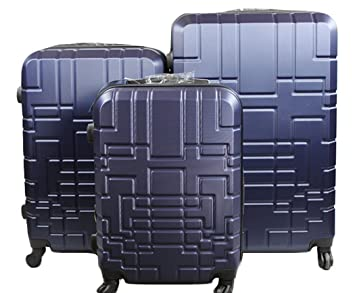 Dublín 5- combinación de número de 3 maletas de ABS y policarbonato -trolley- con 4 ruedas giratorias de 360 °, varios colores (Azul): Amazon.es: Equipaje