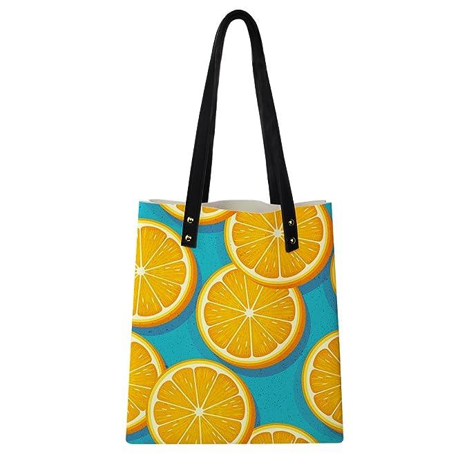 c0c8bfc8db3a Amazon.com  HUGS IDEA 3D Orange Print Tote Shoulder Bag Teen Girl Travel  Shopping Handbag Casual Schoolbags  Clothing