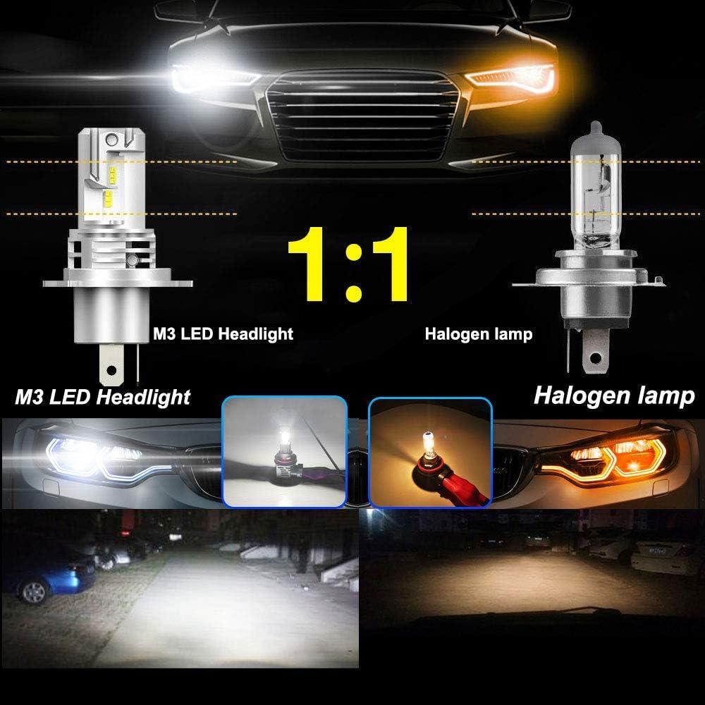 impermeabili IP65 ElevenII Lampadine H4 a LED senza fili per fari Serie M3 55W 12000LM 6500K Chip ZES Kit di conversione a LED ad alta luminosit/à bianco freddo
