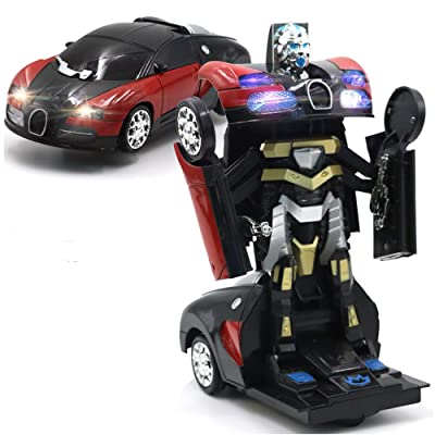 YEAM Transforming Robot Red Bugatti Transformation Autobot Car Toy with Lights and Sounds for Kids, with Bump and Go Action: Toys & Games