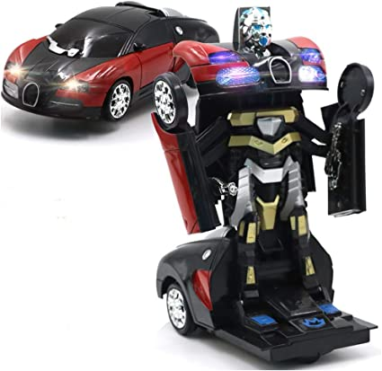 Robot Bugatti Transformation Autobot Car Toy Light Sound Kids Bump and Go Action