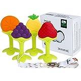 Baby-Beißring,Tinabless Baby-Zahnen Obstbaum Silikon-Zehne für Kleinkind Jungen Mädchen BPA-freie Zahnen Set mit 4 Stück