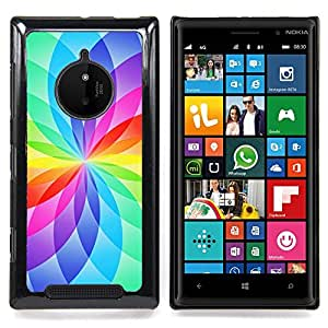 Floral White Rainbow Vibrant Colors Caja protectora de pl??stico duro Dise?¡Àado King Case For Nokia Lumia 830