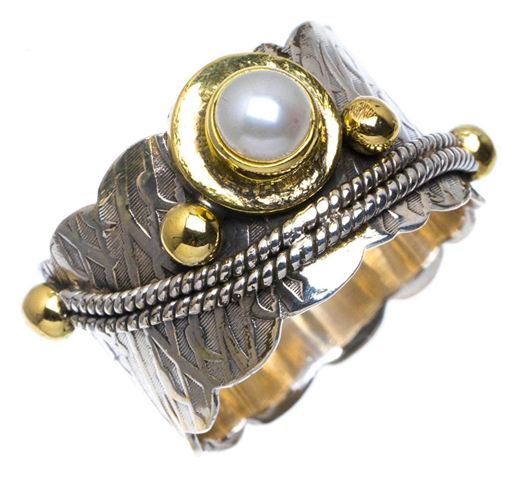 Natural Two Tones River Pearl Handmade Unique 925 Sterling Silver Ring 9.25 A4103