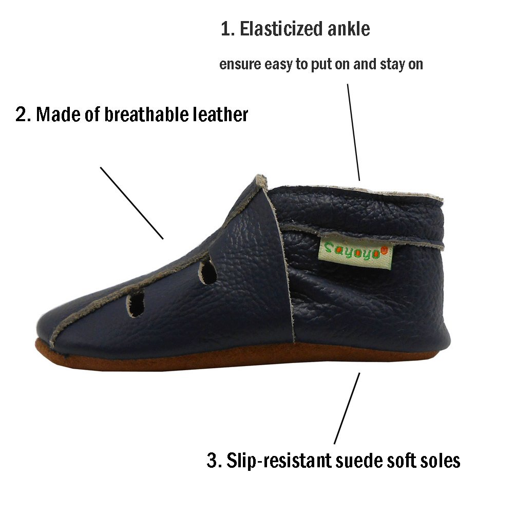 Sayoyo Baby Soft Sole Leather Infant Toddler Prewalker Navyblue Shoes Sandal