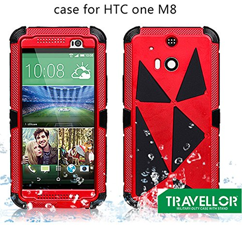 Travellor(TM) New Metal htc one m8 Shockproof Dirtproof Scratchproof Protection Case Cover for HTC ONE M8 Gifts Outdoor Carabiner + Professional Lens Wipes+Screen Dedusting Chain(Travellor Brand)multiple Color (Metal red)