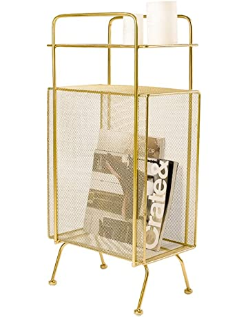 Bathroom Shelves Simple Wrought Iron Tabletop Metal Newspaper And Debris Decoration Storage Basket Hangable Portable Rack