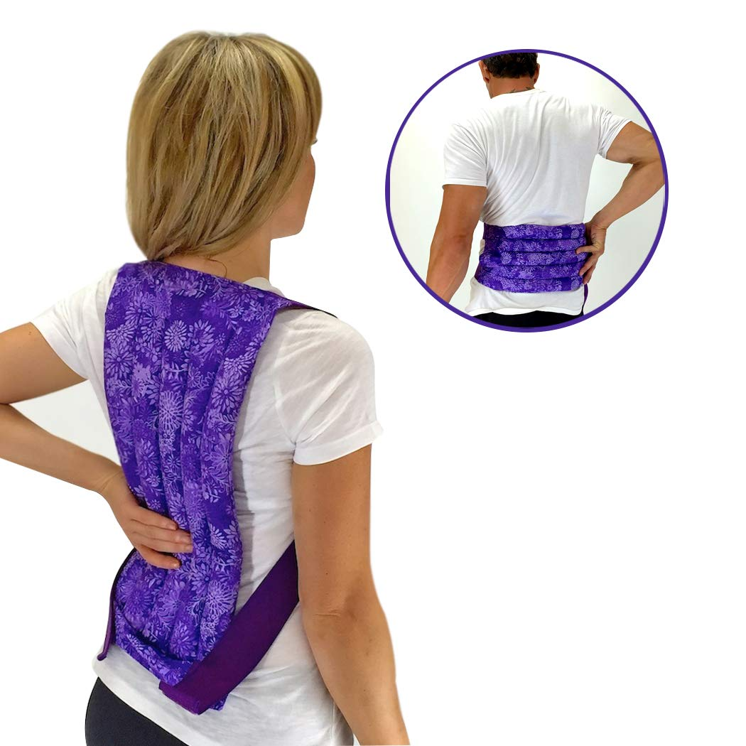Spine & Back Herbal Heating Pad - Stress & Tension Relief – Microwavable Hot and Cold Pack by Nature Creation (Purple Flowers)