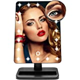 Qivange Makeup Vanity Mirror, Adjustable 20pcs LED Natural Lights with Touch Screen, 180 Free Rotation with Removable 10x Magnifying Countertop Vanity Mirror(Black)