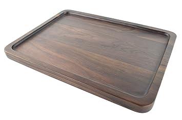 Bandeja rectangular de madera maciza de nogal negra para servir. Hecha a mano. Bandeja