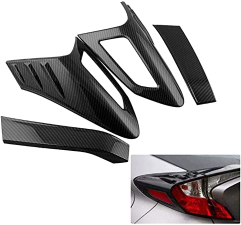 HIGH FLYING 4pcs ABS Plastic Black Exterior Rear Tail Light Lamp Mouldings For C-HR 2016-2019
