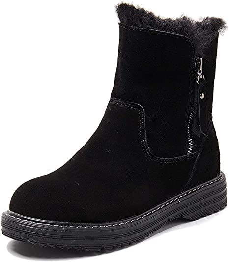 Waterproof Slip Resistant Snow Boots,Nevera Stitching Color Warm Chunky Heels Boots Shoes