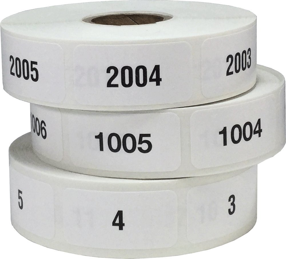 Consecutive Number Labels 1-3000 Bulk Pack 3/4 x 1 1/2 Inch Rectangle Small Number Stickers for Inventory by InStockLabels.com