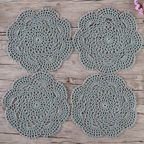 ZORJAR Handmade Cotton Crochet Table Place Mats Doily (7.8 Inch/Set of 4) (Bean Green)