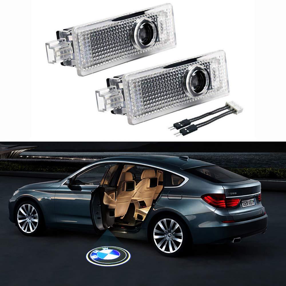 2Pcs Car Door LED Projector Lights Laser Logo Light Ghost Shadow Welcome Lamp Symbol Emblem Courtesy Step Lights Ground Lamp Kit Easy Installation for BMW