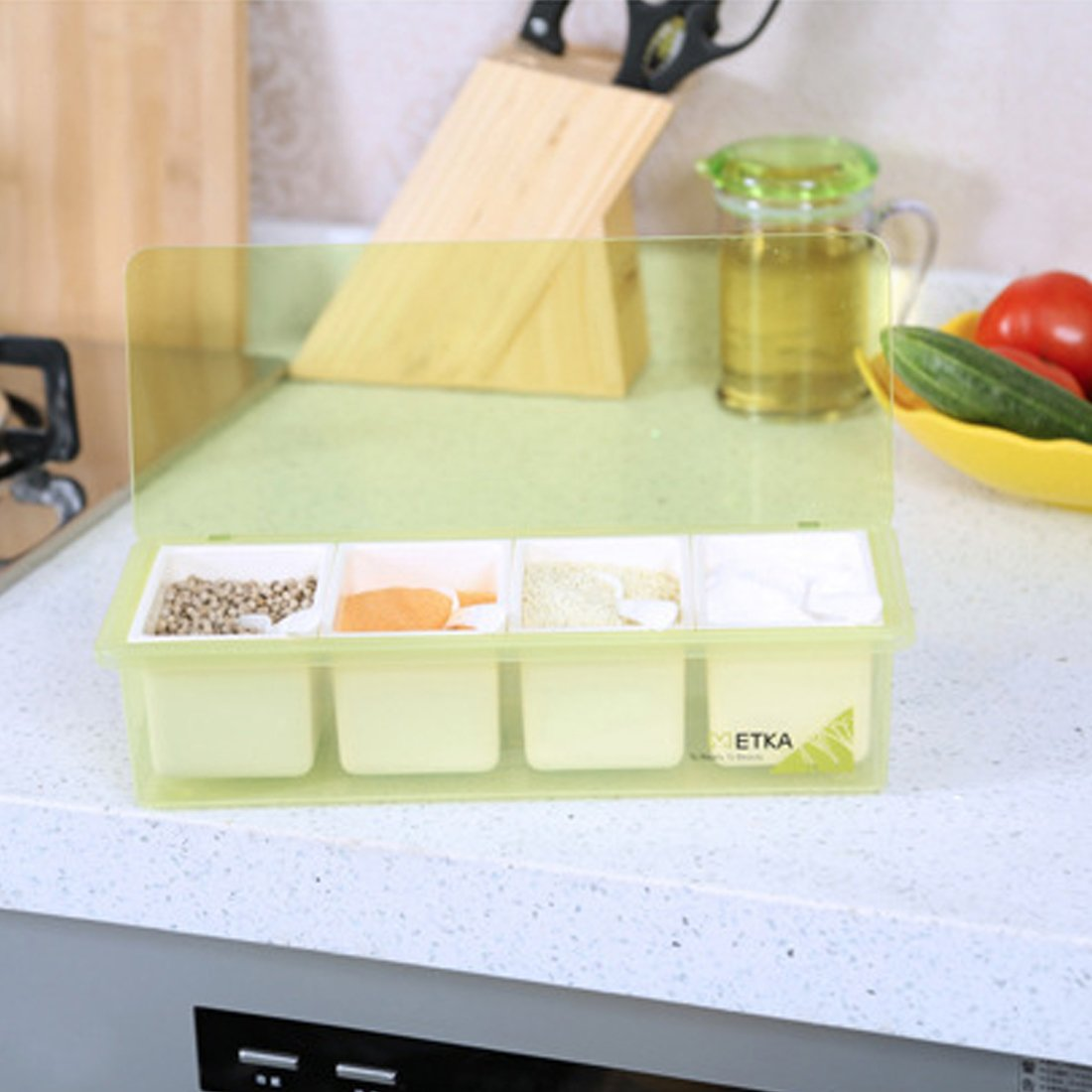 Haoun Clear Seasoning Box,Simple Style 4 Piece Seasoning Rack Storage Container Condiment Jars with Spoons for Kitchen-Green