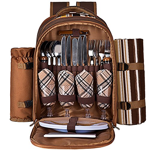 Ferlin Picnic Backpack for 4 With Cooler Compartment, Detachable Bottle/Wine Holder, Fleece Blanket, Plates and Cutlery Set (Coffee) (Outdoor Gift Basket)