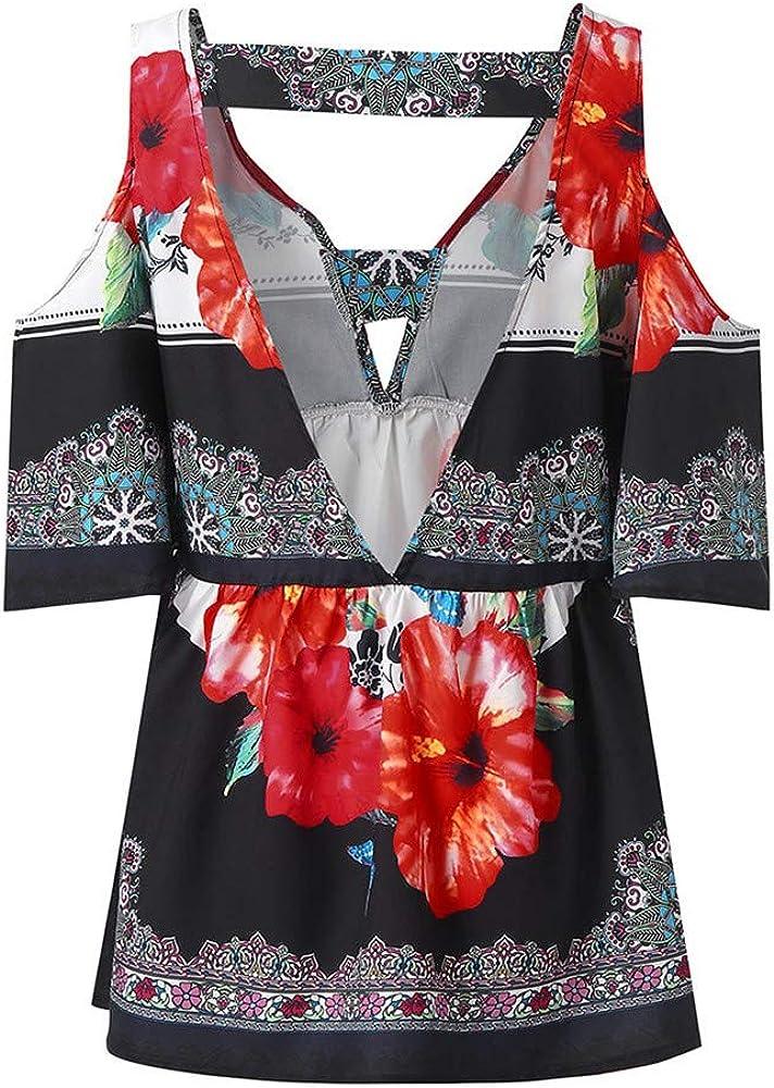 BAOHOKE Fashion Womens Short Sleeve V-Neck Folk Custom T-Shirt Casual Tops Short Sleeve Print Shirt