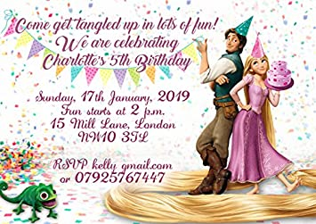 10 X Personalised Rapunzel Tangled Children Birthday Party Invitations With Pink Envelopes