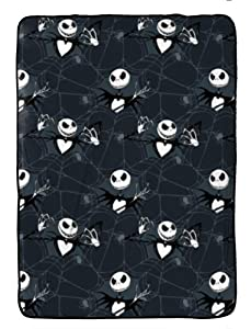 Jay Franco Disney Nightmare Before Christmas Blanket - Measures 60 x 90 inches, Kids Bedding Features Jack Skellington - Fade Resistant Super Soft Fleece (Official Disney Product)