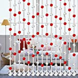 Woaills Crystal Glass Bead Butterfly Design Curtain Luxury Living Room Bedroom Window Door Wedding Decor By (Red)