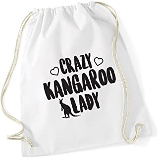 HippoWarehouse Crazy kangaroo lady Drawstring Cotton School Gym Kid Bag Sack 37cm x 46cm, 12 litres