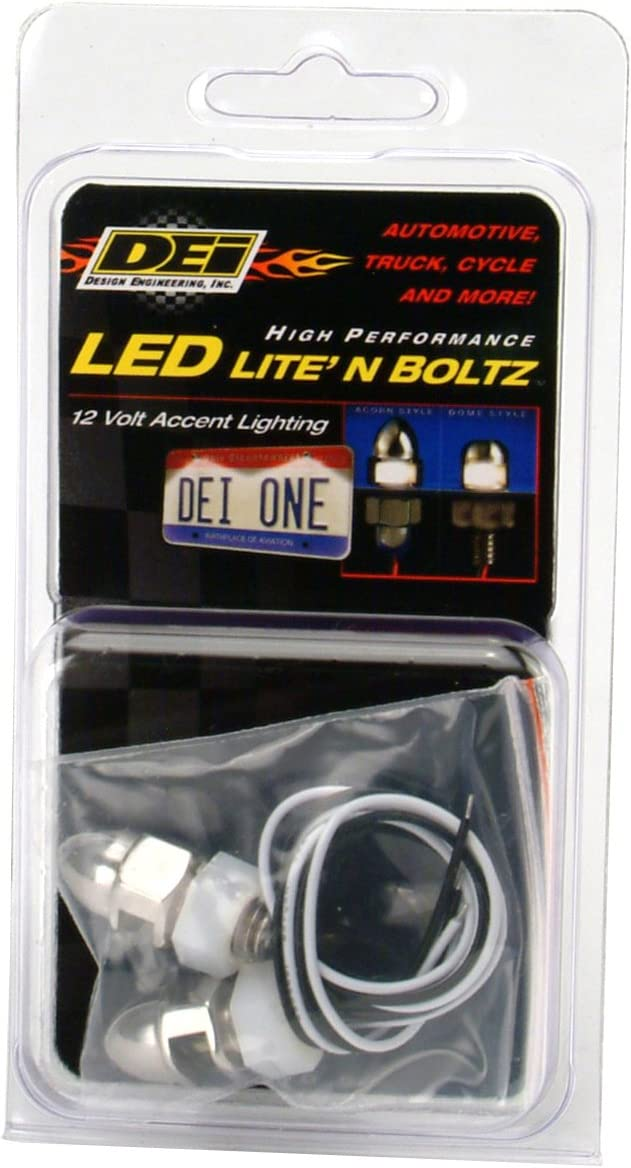 Polished 4 Piece Design Engineering 030309 LiteN Boltz LED License Plate Lighting Kit with Dome Head