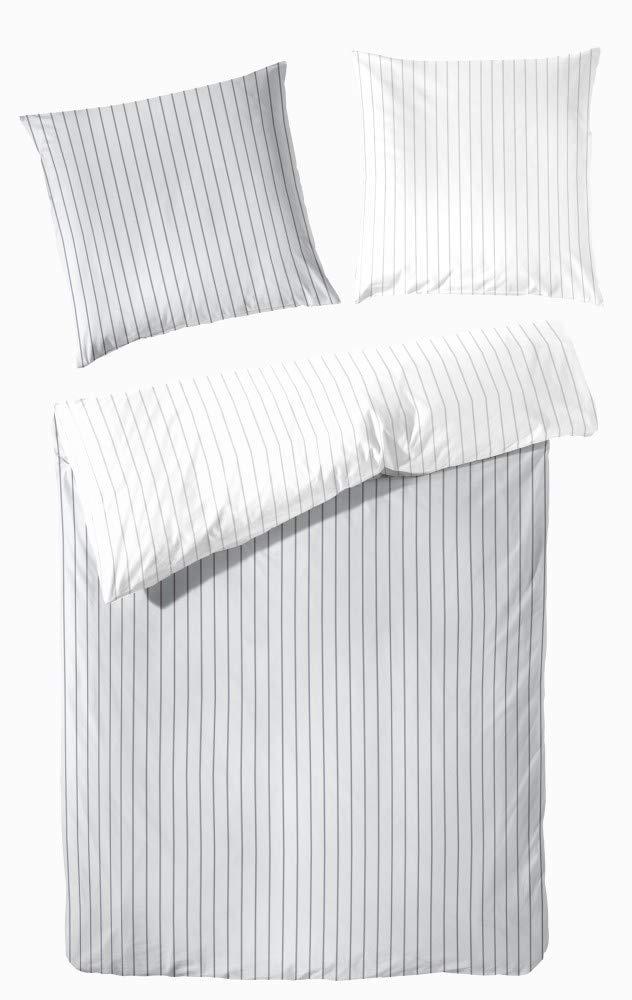 Bettwäsche 135x200 cm Perkal Baumwolle Wendebettwäsche Gestreift grau weiß