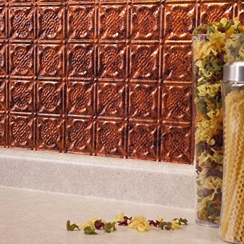 Copper Backsplash (Fasade Easy Installation Traditional 6 Moonstone Copper Backsplash Panel for Kitchen and Bathrooms (18