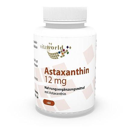 Astaxantina 12mg 60 Cápsulas Vita World Producción en farmacia en Alemania – Antioxidante - Haematococcus pluvialis