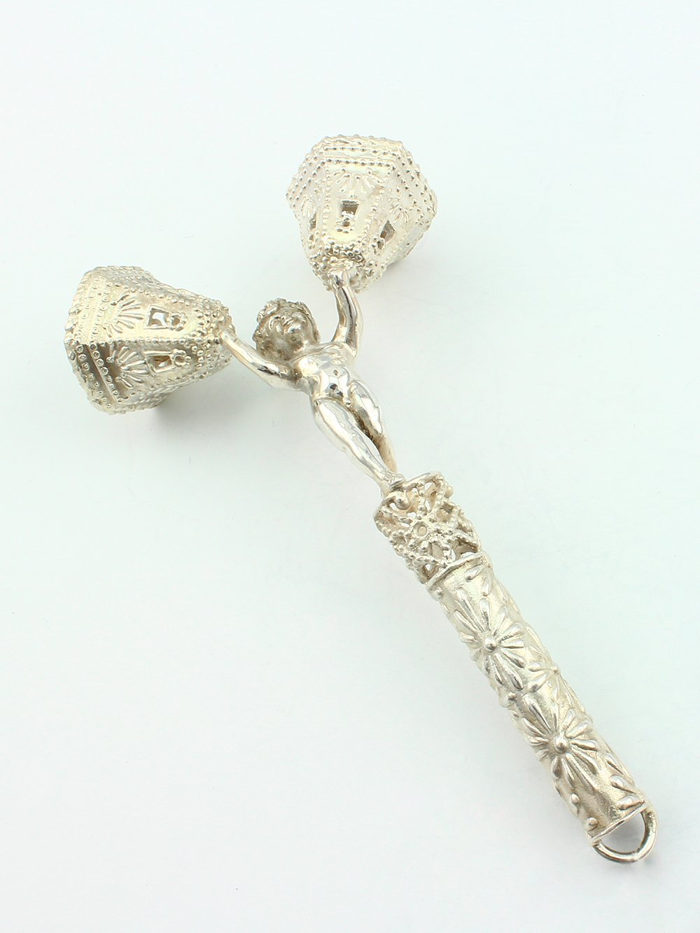 Silver Handmade Rattle ''A boy with bells''